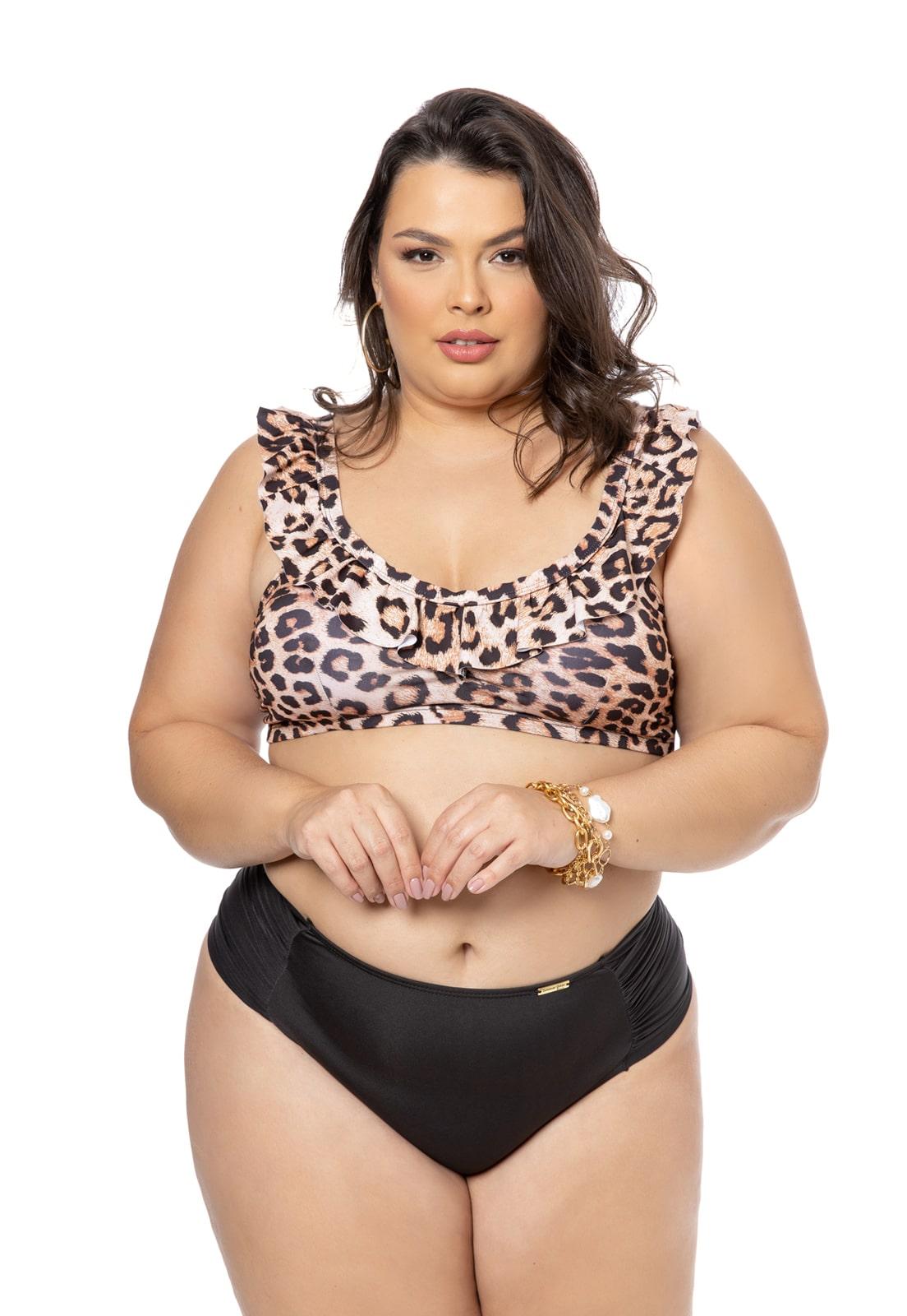 Sutiã Biquini com Bojo Leopardo com Babado Plus Size