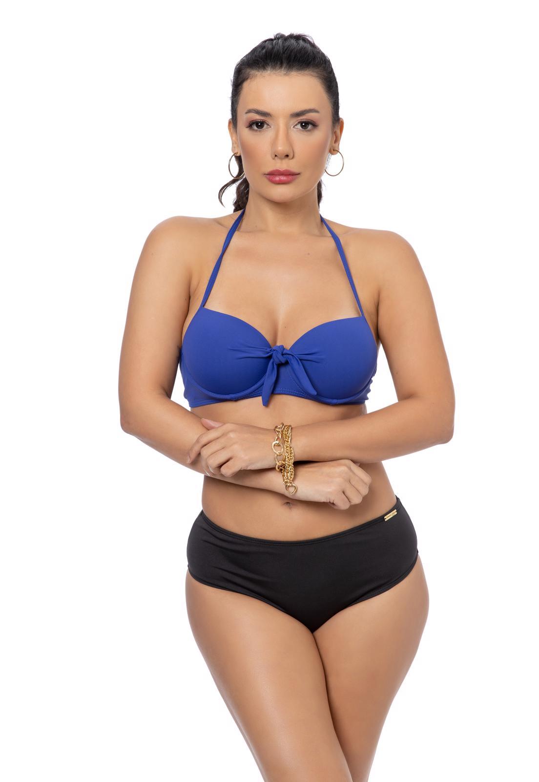 Sutia de Biquíni com Bojo Azul e Amarração Frontal