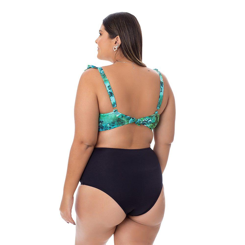 Top Biquíni Plus Size Estampado com Bojo Verde Folhas e Babado nas Alças