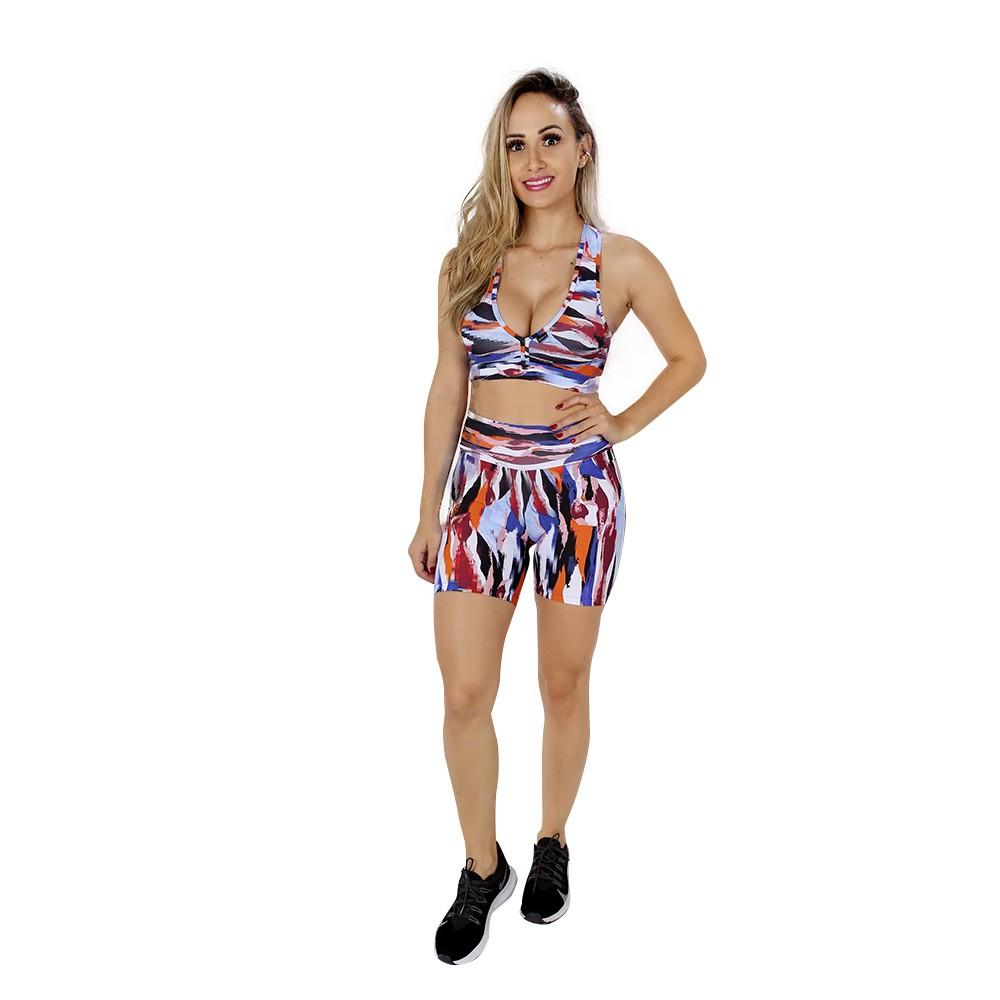 Top Fitness de Academia com Bojo Feminino Estampado Colorido Nadador Decote V