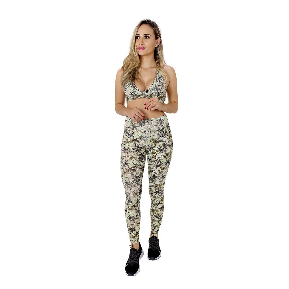 Top Fitness de Academia com Bojo Feminino Estampado Palmeiras Nadador