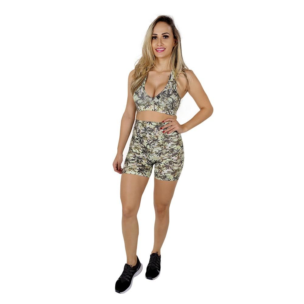 Top Fitness de Academia com Bojo Feminino Estampado Palmeiras Nadador Decote V