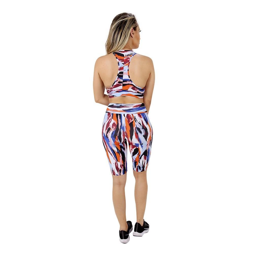 Top Fitness de Academia Feminino Estampado Colorido Nadador