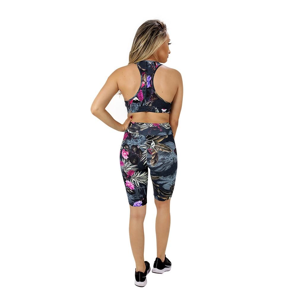 Top Fitness de Academia Feminino Estampado Folhas Escuras Nadador
