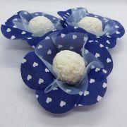 Forminhas para Doces - Azul com Coração Branco - F7 Tafetá - 25 un