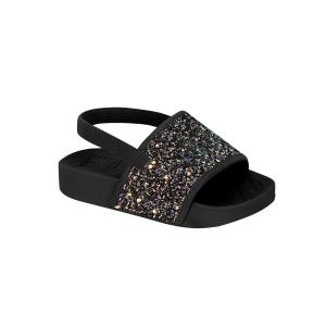 Chinelo Menina Molekinha Slide Glitter com Elástico