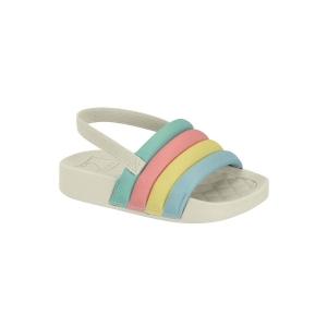 Sandália Menina Molekinha Slide com Elástico Multicolor