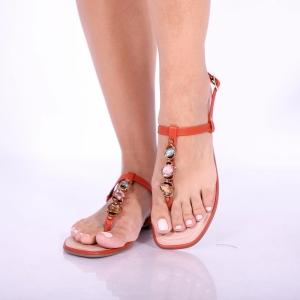 Sandália rasteira Via Scarpa com Pedras