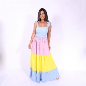 Vestido Longo Doce Dança Colorido