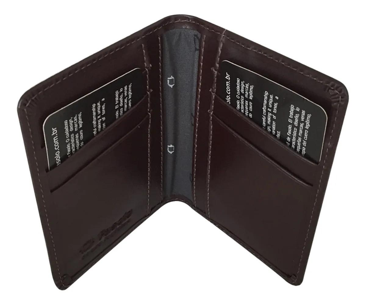 Carteira Porta Cartões E Documentos De Couro Fasolo