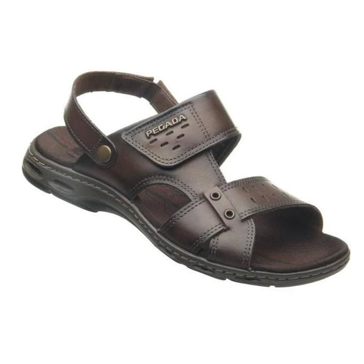 Sandália Masculina Pegada Couro Tiras de Velcro