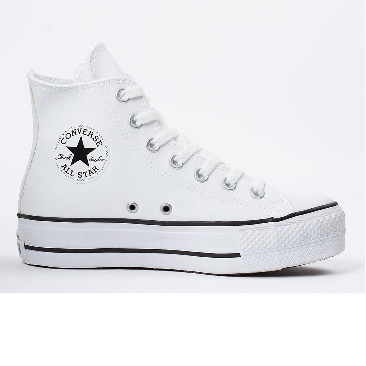 Tênis Feminino All Star Chuck Taylor Hi  Platform Branco e Preto