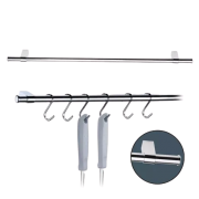 Barra Tubular 45cm Cozinha Com 6 Ganchos Aço Cromado Future