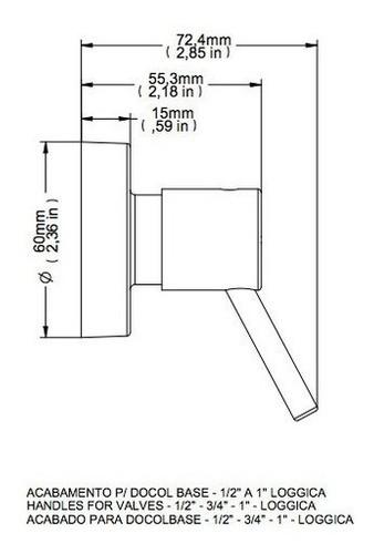 Acabamento Lóggica Cromado Para Registro Base Docol Dn15 1/2