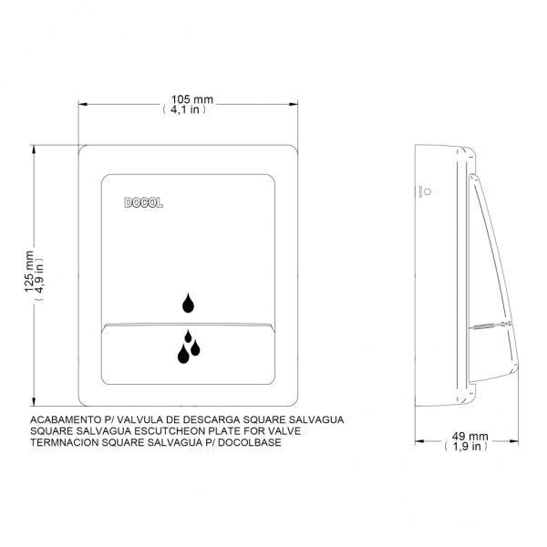 Acabamento Para Válvula de Descarga Docol SALVÁGUA Square Cromado 449506