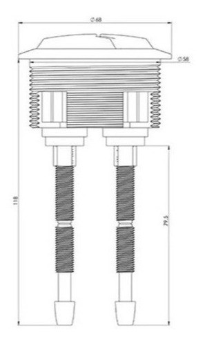 Botao Acionador Duplo Descarga Acoplada Dual Flus Eternit