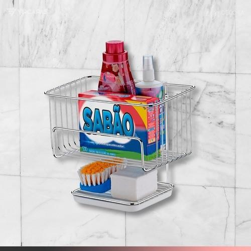 Cesto Multiuso Banheiro Lavanderia Escova Sabão Aço Cromado