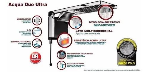 Chuveiro Lorenzetti Acqua Duo Ultra Eletrônico Preto com Cromado