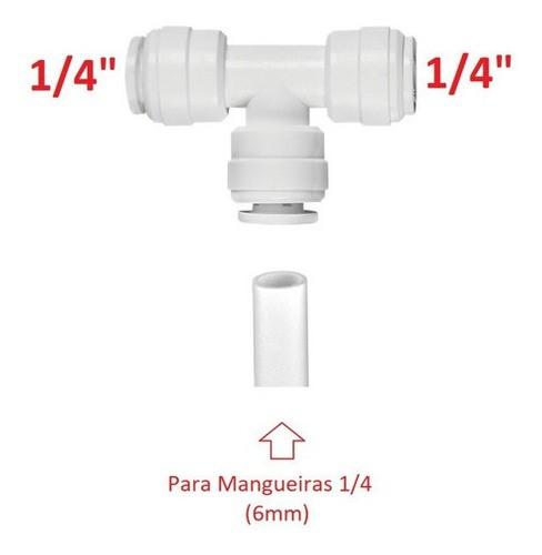 Conexão União Em T P/ Mangueira Filtro 1/4 Engate Rápido