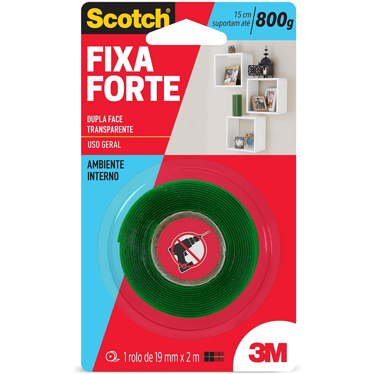 Fita Dupla Face Fixa Forte 19mm X 2m 3m