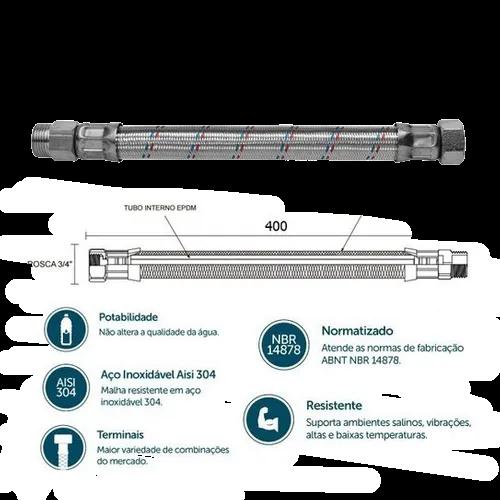 Flexível 3/4 Mxf Aço Inox 400mm+ Barato Ref: 250104