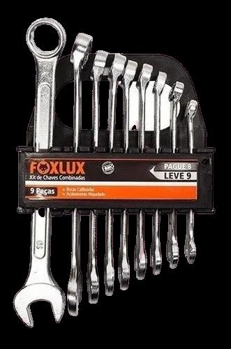 Jogo/kit Chave Combinada 08mm A 19mm 09 Peças - Foxlux
