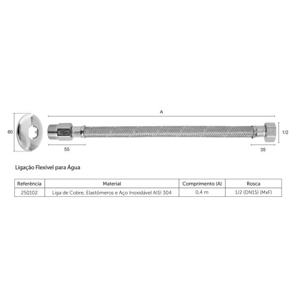 Ligação Flexível Blukit Para Água 0,40m 250102 Aço Inox Cromada