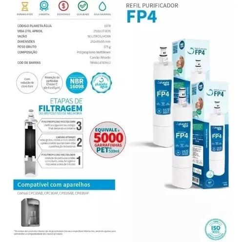Refis Fp4 Para Purificador Consul Cpc30ab   Cpb35ab Kit 2 Pç