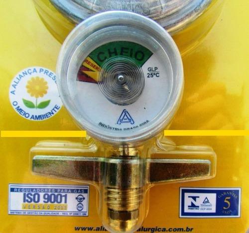 Regulador De Gás C/ Manômetro Aliança 504/01 Selo Inmetro