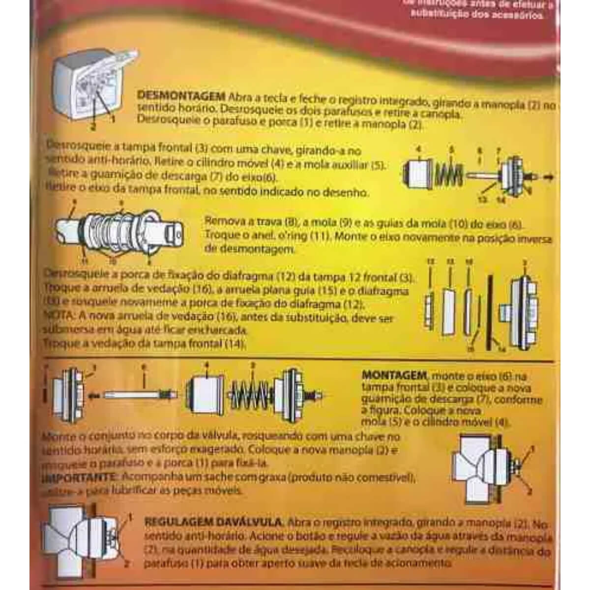 Jogo de Reparo Válvula Descarga P21 Lorenzetti 5220-a