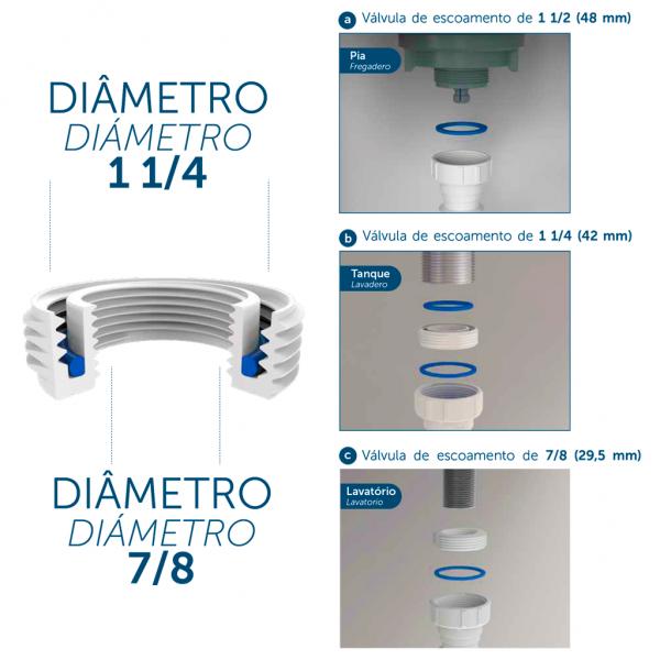 Sifão Tubo Extensivo Universal 72 cm Cromado 031101 Blukit