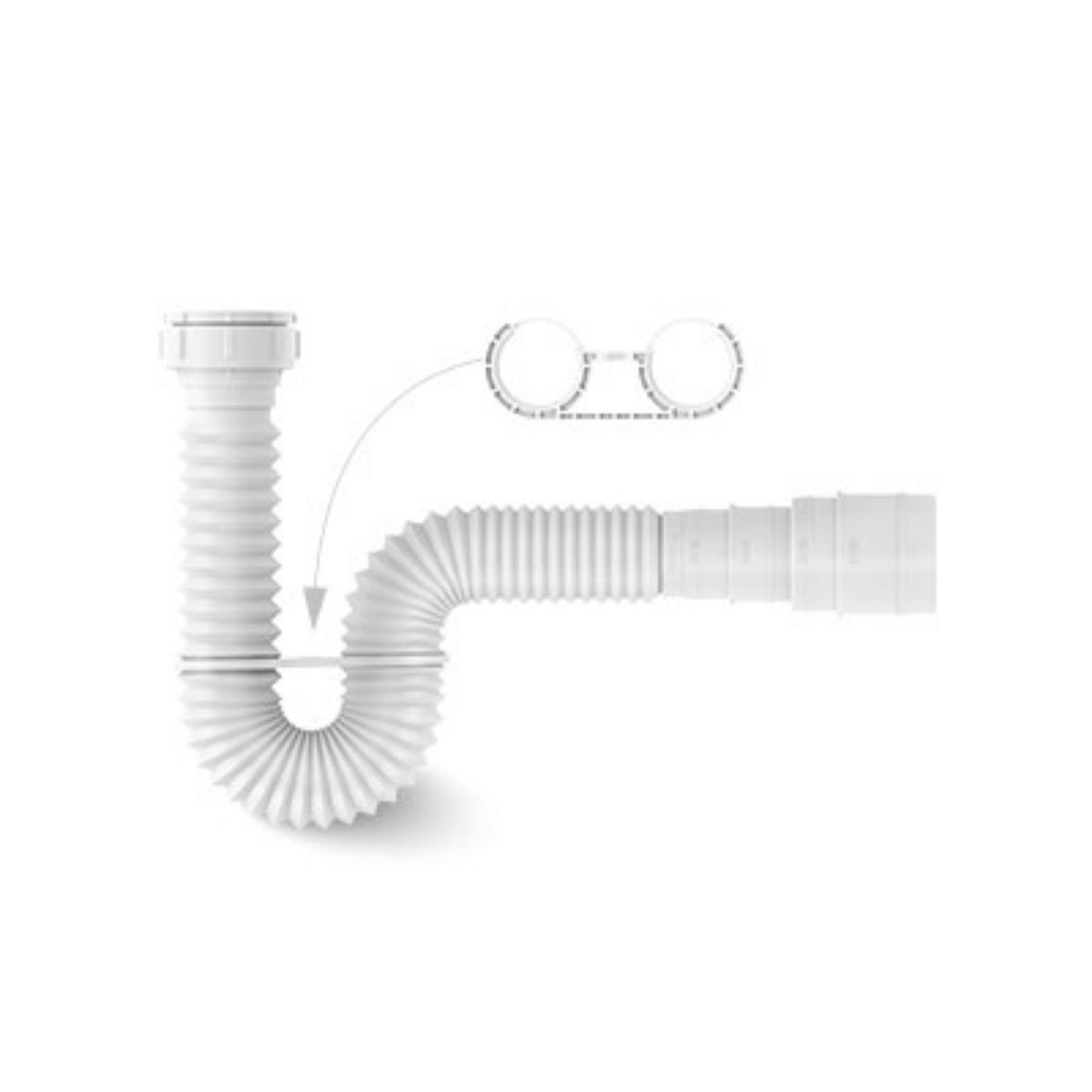 Sifão Universal Extensível Branco 74cm Com Suporte Censi