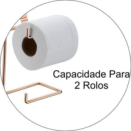 Suporte Duplo Papeleira De Encaixe Caixa Acoplada Rosé Gold