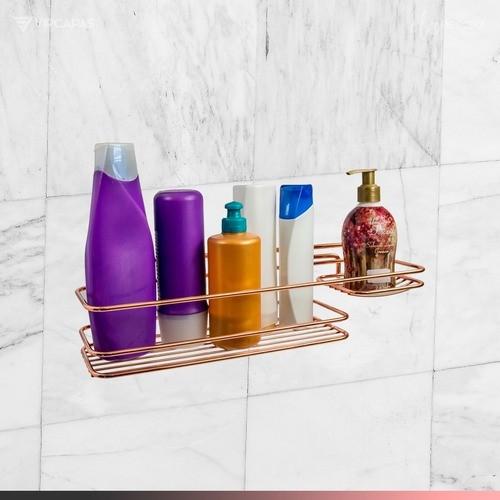 Suporte Em Aço Cromado Porta Shampoo Sabonete Para Parede