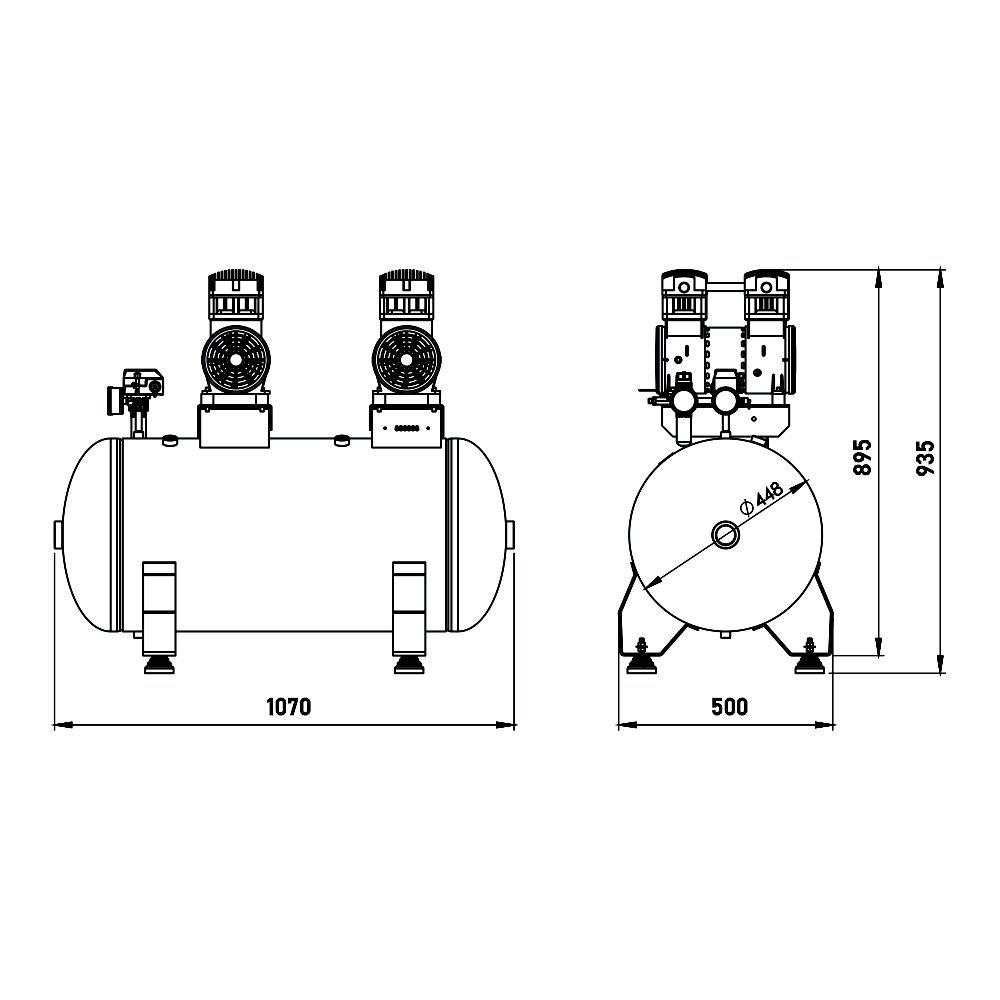 Compressor Odontológico 150 Litros - 4 HP - 20 PCM - p/ até 5 consultórios - 220V