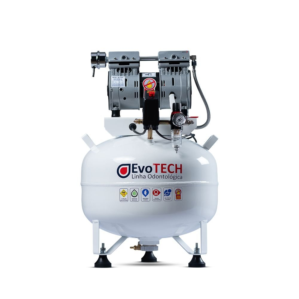 Compressor Odontológico Evotech 30 Litros - 1 HP - 5 PCM - p/ 1 consultório com BV