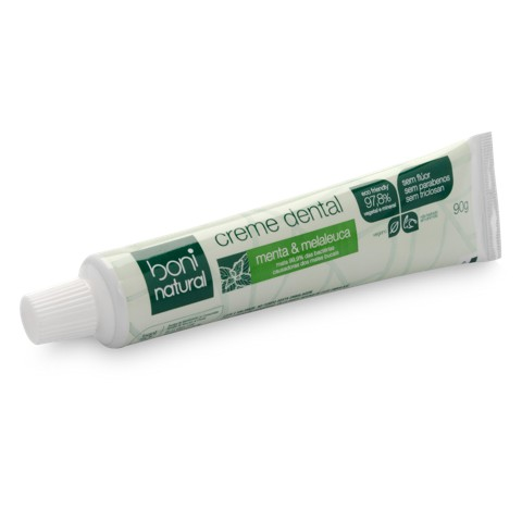 Creme Dental Boni Natural Vegano Sem Flúor Menta e Melaleuca - 90g - 1 unidade