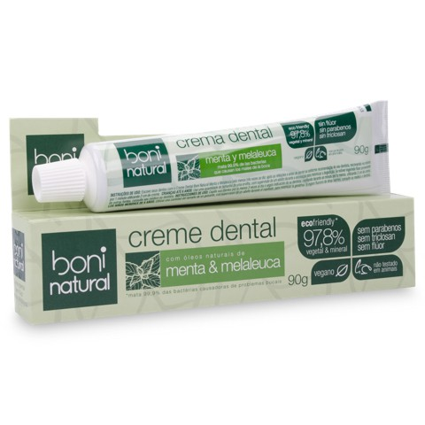 Creme Dental Boni Natural Vegano Sem Flúor Menta e Melaleuca - 90g - 6 unidades