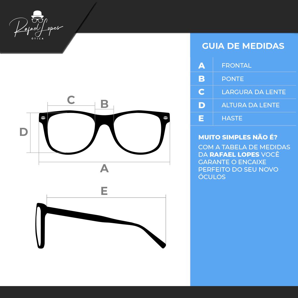 Óculos de Sol Clubmaster Oversized + Lente Solar com Grau