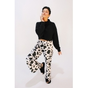 Calça Pantalona Cow Print