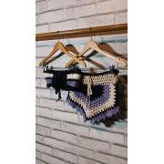 Conjunto Crochê (Bege/Preto/Lilás)