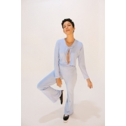 Conjunto Tracy Azul Candy (cardigan e calça)
