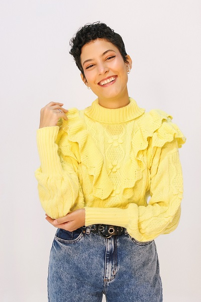 Blusa Tricot Babado - Amarelo Candy