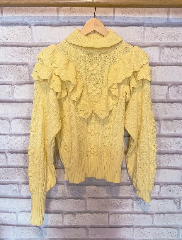Blusa Tricot Babado Gringo - Amarelo Candy