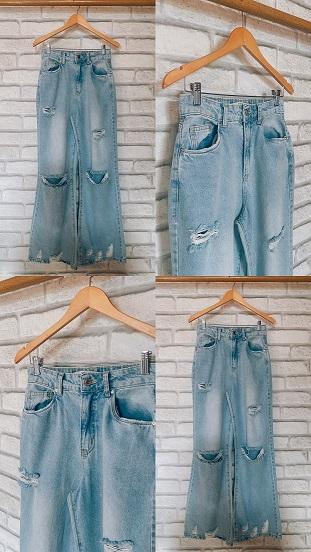 Calça Wide Jeans c/ Rasgo