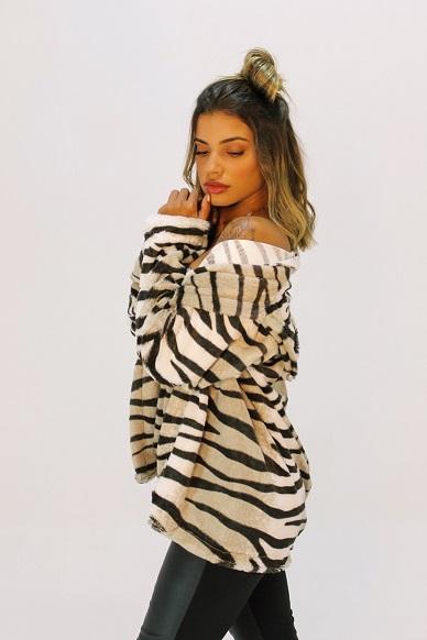 Coat Anchorage Animal Print Zebra