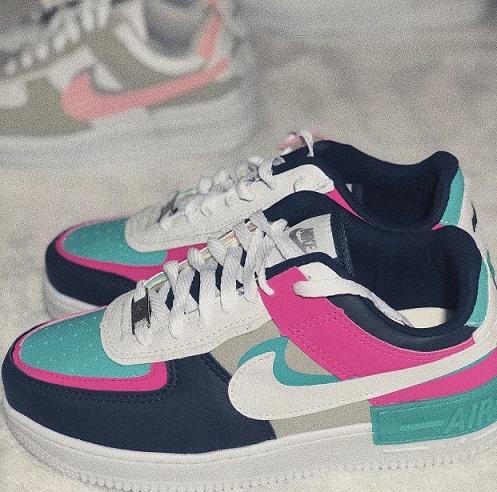 Tênis Nike Air Force 1 Shadow - Pink e Azul Marinho