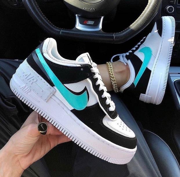 Nike Air Force Shadow Branco+Preto+Verde Água