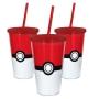 Copo com Canudo - 500ml - Pokémon - Pokebola