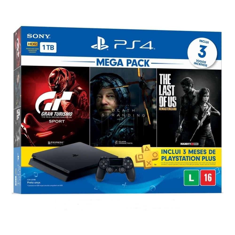 Console Playstation 4 Slim 1TB Gran Turismo Sport + Death Stranding + The Last of Us Remasterizado + 3 Meses Playstation Plus